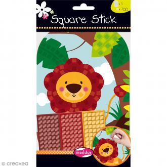 Kit gommettes Mosaïque - Square Stick - Lion
