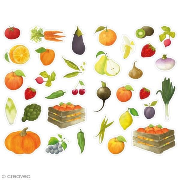 Gommettes Mimi Stick - Fruits & Légumes - 12 planches 21 x 16 cm - 34 pcs - Photo n°1