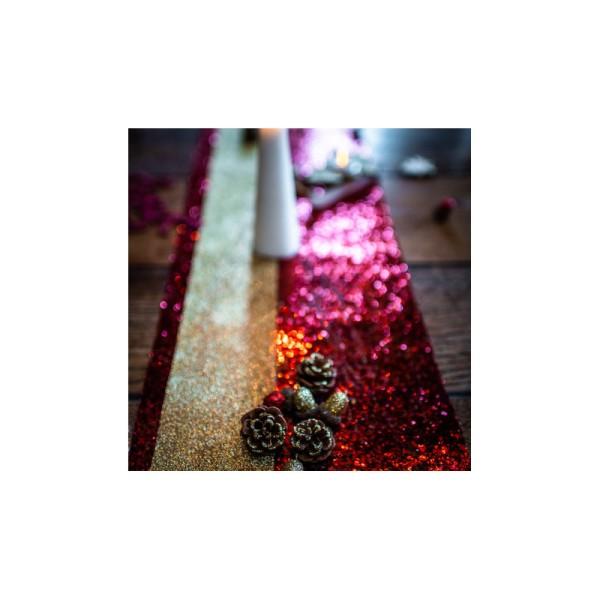 Chemin de table pailleté rouge - Photo n°2