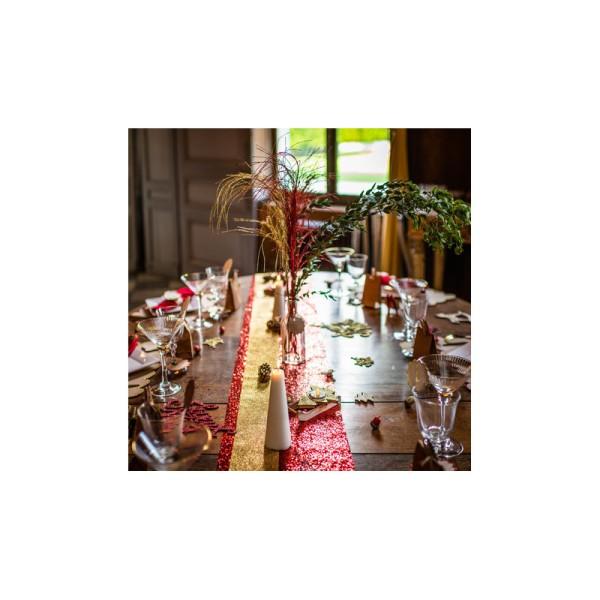 Chemin de table pailleté rouge - Photo n°3