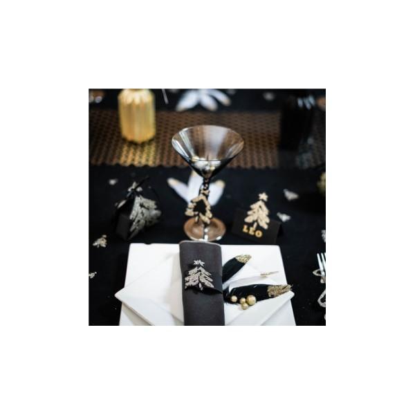 Marque-places sapin noir mat pailletés x8 - Photo n°3