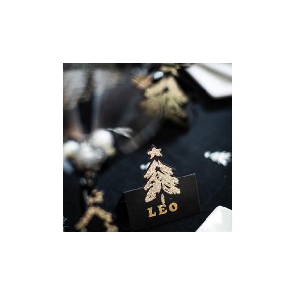 Marque-places sapin noir mat pailletés x8 - Photo n°4