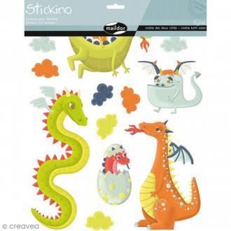 Stickers Fenêtre Stickino - Dragons - 1 planche 30 x 38 cm