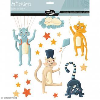 Stickers Fenêtre Stickino - Chats - 1 planche 30 x 38 cm