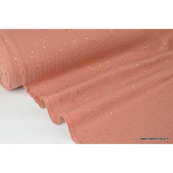 Tissu Double gaze coton Glitter à pois OR coloris Marsala - Photo n°2