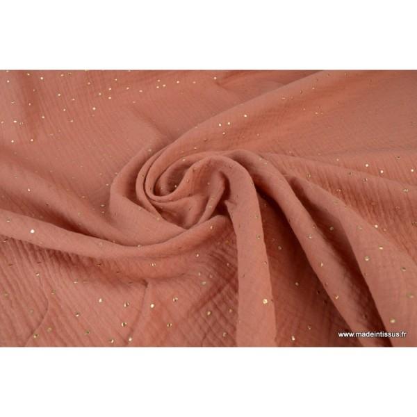 Tissu Double gaze coton Glitter à pois OR coloris Marsala - Photo n°3