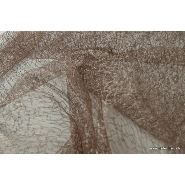 Tissu Tulle résille marron pour décoration - Photo n°3