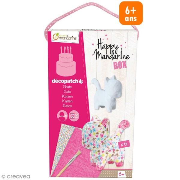 Kit créatif Happy Mandarine Box - Décopatch chats - 6 personnes - Photo n°1