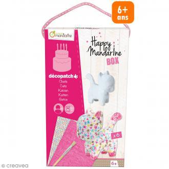 Kit créatif Happy Mandarine Box - Décopatch chats - 6 personnes