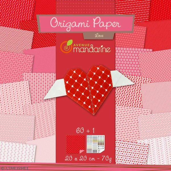 Papier Origami Recto/Verso Paper Love - 20 x 20 cm - 60 pcs - Photo n°1