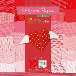 Papier Origami Recto/Verso Paper Love - 20 x 20 cm - 60 pcs