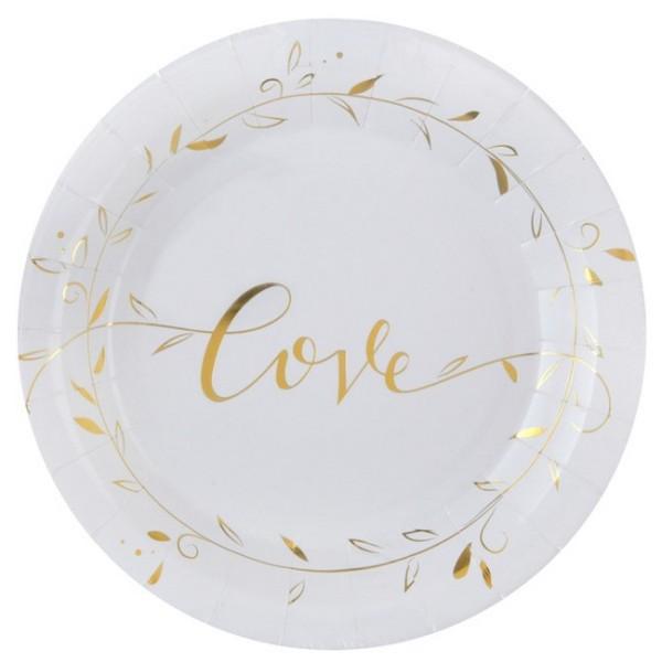 10 Assiettes en carton Just Married blanc et or métallisé - Photo n°1