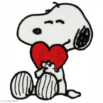 Ecusson brodé thermocollant - Snoopy - Snoopy et coeur