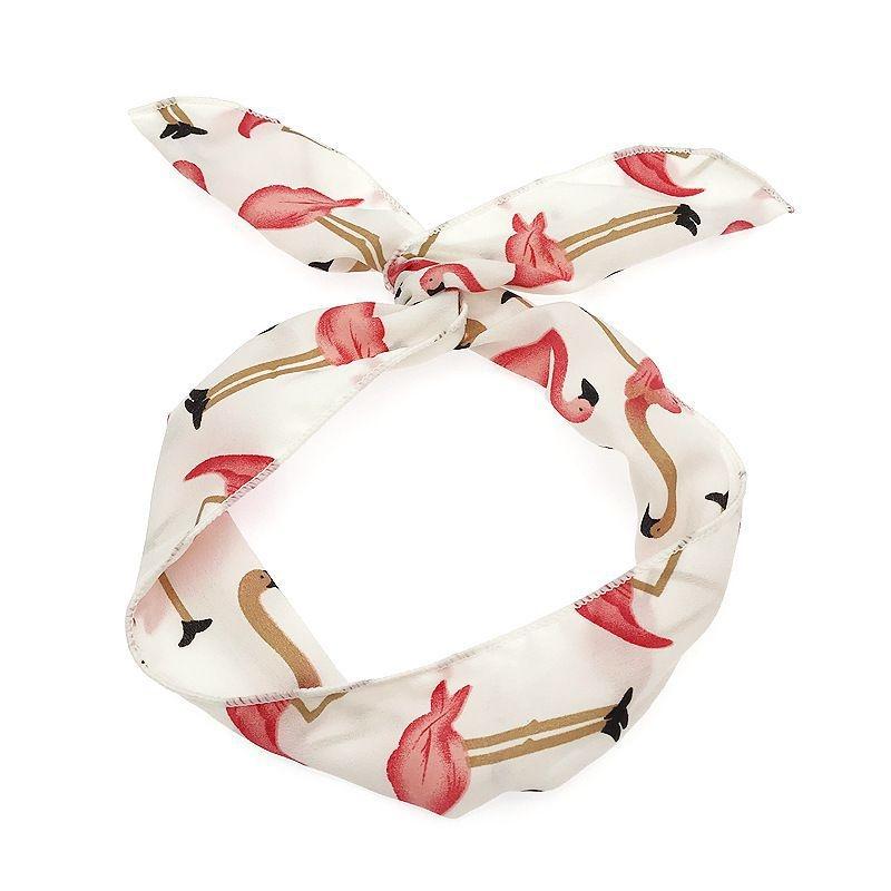 1pc blanche flamant rose en mousseline de soie des femmes bandeau en tissu bandeau cadeau pour. Black Bedroom Furniture Sets. Home Design Ideas
