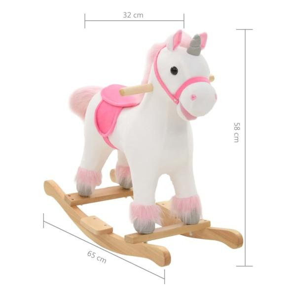 vidaxl licorne bascule peluche 65 x 32 x 58 cm blanc et rose jouets mixtes creavea. Black Bedroom Furniture Sets. Home Design Ideas