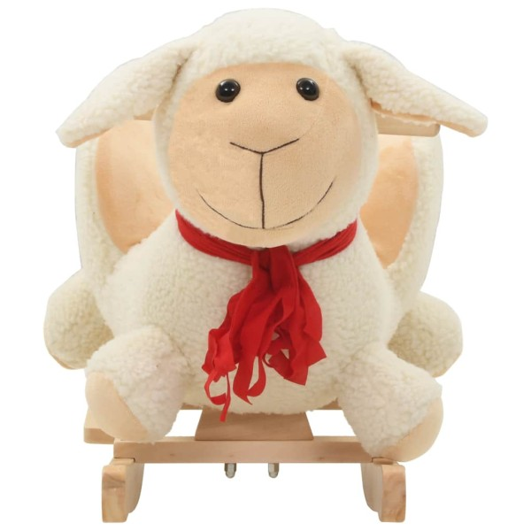 834530884b6383 Vidaxl Mouton À Bascule Avec Dossier Peluche 60 X 32 X 50 Cm Blanc - Photo