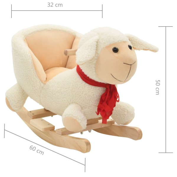 vidaxl mouton bascule avec dossier peluche 60 x 32 x 50 cm blanc jouets mixtes creavea. Black Bedroom Furniture Sets. Home Design Ideas
