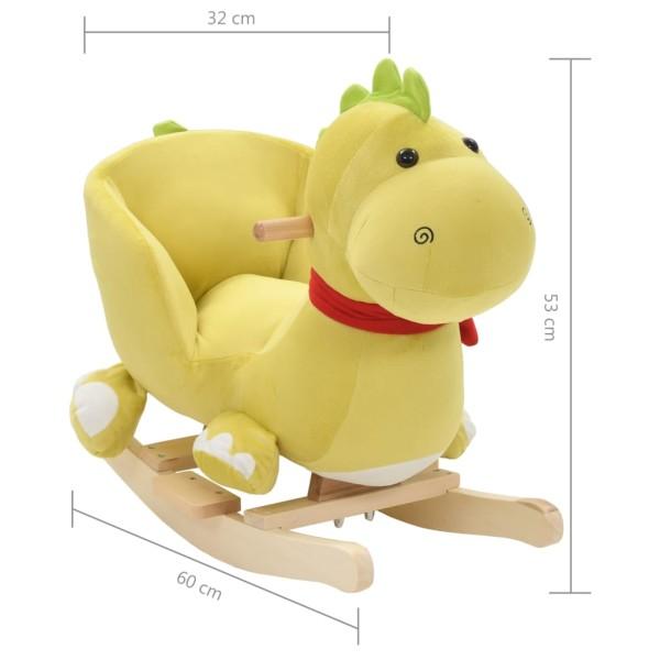 vidaxl dragon bascule avec dossier peluche 60x32x53 cm vert citron jouets mixtes creavea. Black Bedroom Furniture Sets. Home Design Ideas