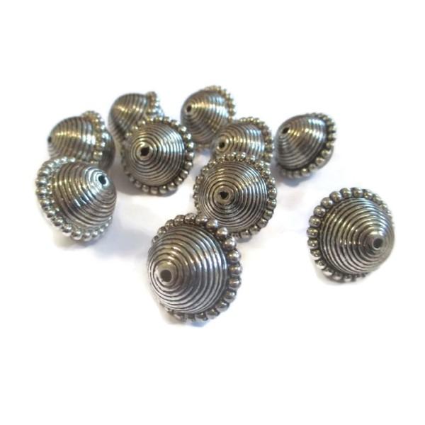 20 Perles CCB Métallisés 20mm couleur argenté - Photo n°1