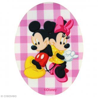 Ecusson imprimé thermocollant - Mickey - Mickey et Minnie vichy rose