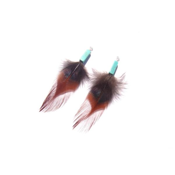 Pendentifs en plumes naturelles de coq sur Howlite 72 MM environ de hauteur - Photo n°1