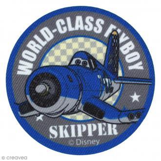 Ecusson imprimé thermocollant - Planes - Skipper Riley macaron bleu