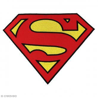 Ecusson brodé thermocollant - Superman - Logo Superman rouge