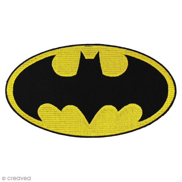 Ecusson brodé thermocollant - Batman - Logo Batman ovale - Photo n°1