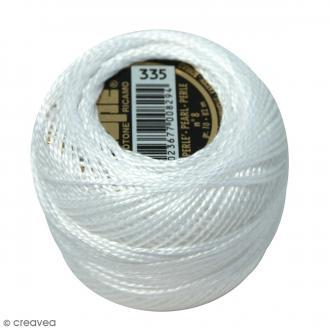 Fil coton perlé ISPE n°8 - Blanc Uni - 10 g - 82 m