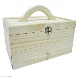 Boîte de rangement en bois - 24 x 15 x 19 cm