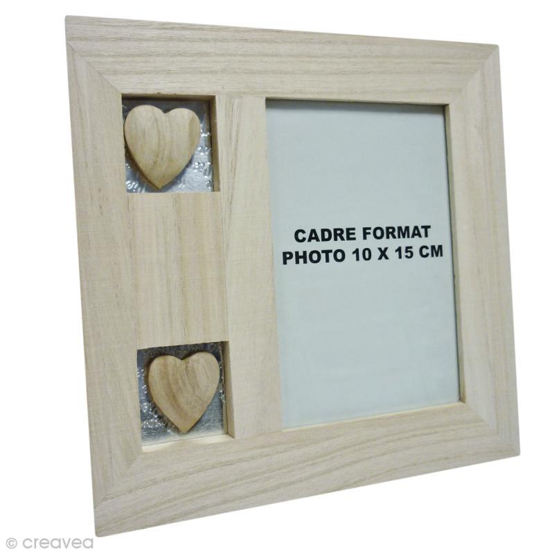 cadre en bois avec coeurs 20 x 20 cm cadre photo d corer creavea. Black Bedroom Furniture Sets. Home Design Ideas