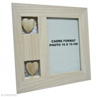 Cadre en bois avec coeurs - 20 x 20 cm