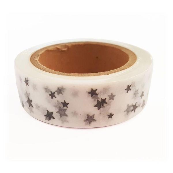 Washi Tape blancs à Étoiles argentées 15 m x 15 mm - Photo n°1