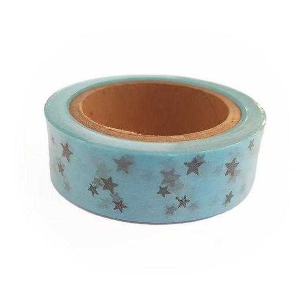 Washi Tape bleus à Étoiles argentées 15 m x 15 mm - Photo n°1