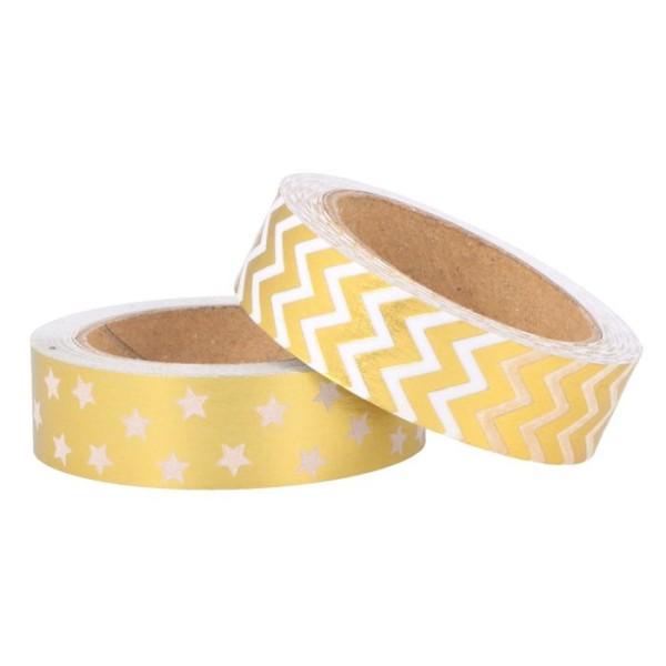 2 masking tapes 5 m x 1,5 cm - Motifs dorés et blancs - Photo n°1