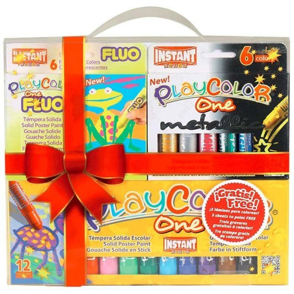 Coffret 24 stylos gouache solide Playcolor Basic-Metal-Fluo + 3 gravures à colorier - Photo n°1
