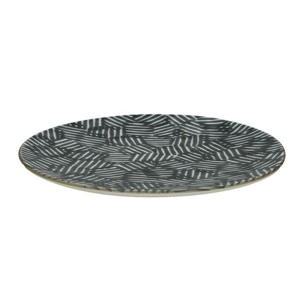 assiette plate xanadu en fa ence noir et blanc 27 cm assiettes et vaisselle en porcelaine. Black Bedroom Furniture Sets. Home Design Ideas