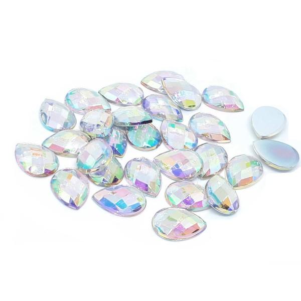 40 PERLES STRASS Cabochon GOUTTE à Coller Acrylique Transparent Reflets Multicolores 10 x 14 mm - Photo n°1