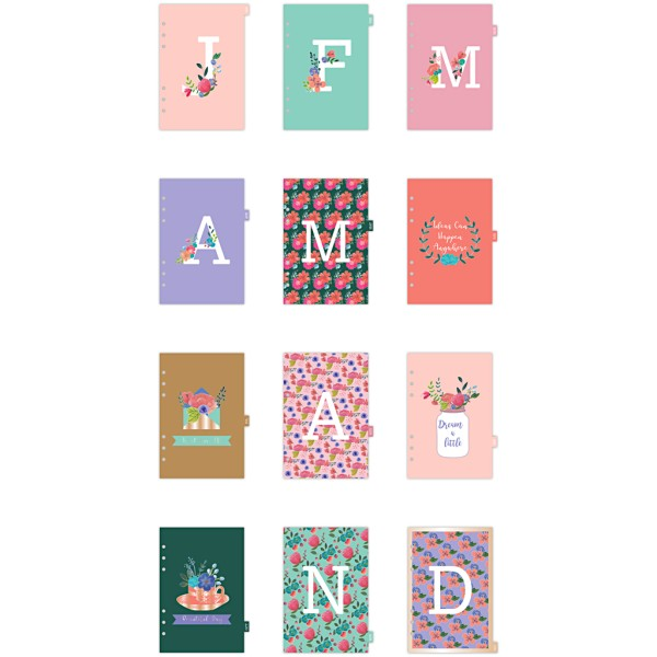 Intercalaires mensuels pour planner - Fleuri - 12 pages - Photo n°1