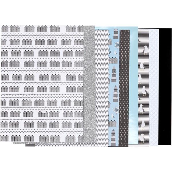 Assortiment papier scrapbooking - Bord de mer - 21 x 30 cm - 24 feuilles - Photo n°1