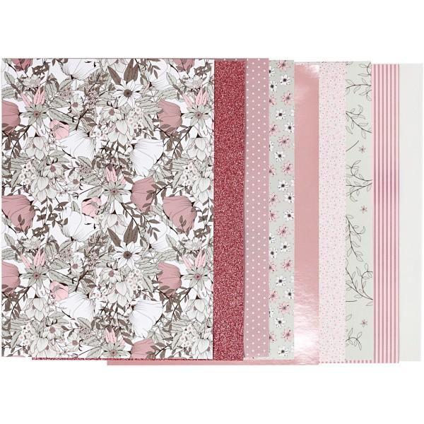 Assortiment papier scrapbooking - Fleuri - 21 x 30 cm - 24 feuilles - Photo n°1