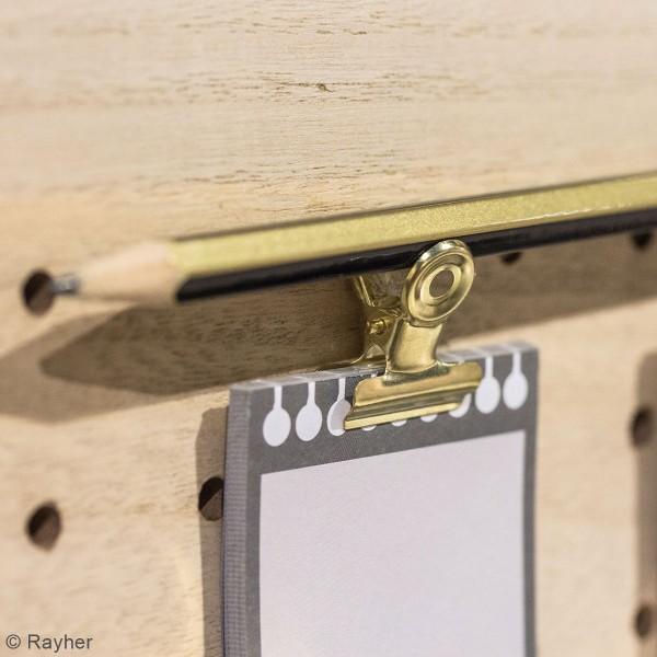 Accessoire pegboard - Pince-clip en métal doré - 2 x 2,5 cm - 3 pcs - Photo n°2