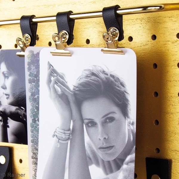 Accessoire pegboard - Pince-clip en métal doré - 2 x 2,5 cm - 3 pcs - Photo n°3
