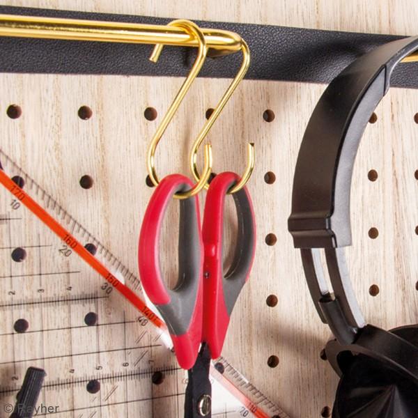 Accessoire pegboard - Crochet S en métal doré - 6,3 cm - 4 pcs - Photo n°3