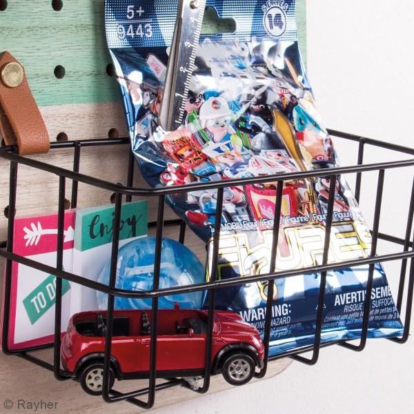 Accessoire pegboard - Panier rectangulaire en métal Noir - 16,5 x 8 x 8 cm - Photo n°6