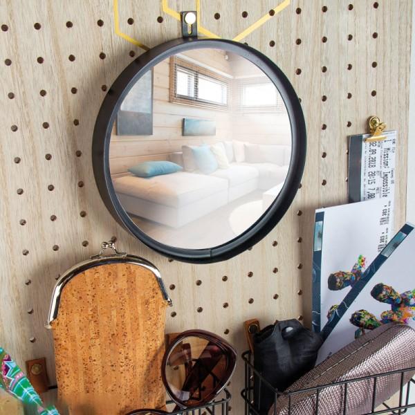 Accessoire pegboard - Miroir à accrocher en métal Noir - 18 cm - Photo n°2