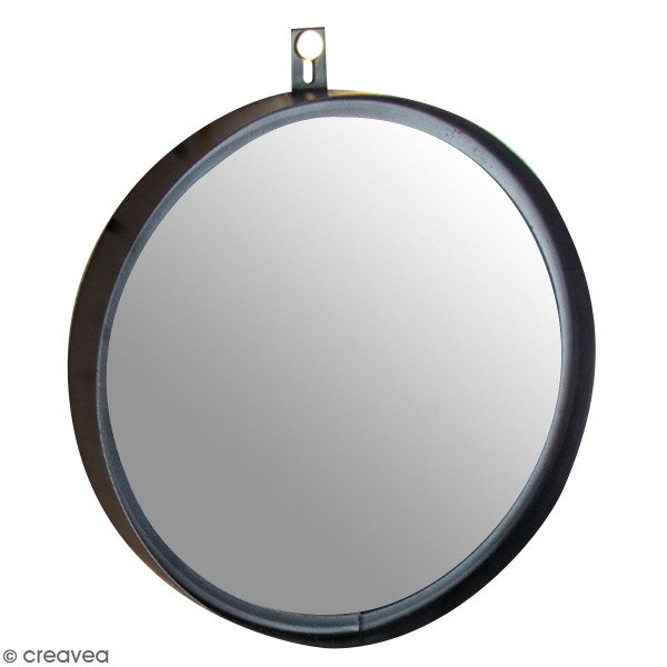 Accessoire pegboard - Miroir à accrocher en métal Noir - 18 cm - Photo n°1