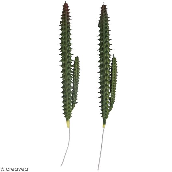 Mini plante artificielle en plastique - Cactus - 18 cm  - 2 pcs - Photo n°1