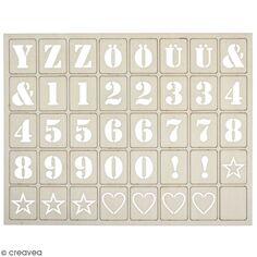 Lettres en bois pour letterboard - 3 x 2,4 cm - 120 pcs