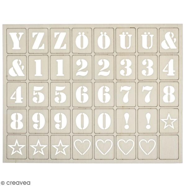 Lettres en bois pour letterboard - 3 x 2,4 cm - 120 pcs - Photo n°1